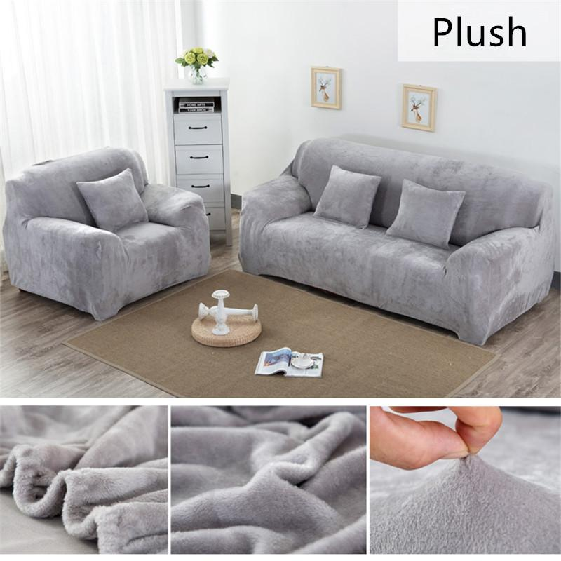 Solid Color Plush Thicken Elastic Sofa Cover Universal Sectional ...