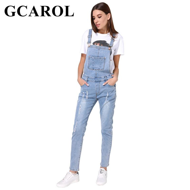 GCAROL New Arrival Women Ripped Denim Jumpsuits High Quality Braces cowboy Light Blue Basic Overall For 4 Season T19053106