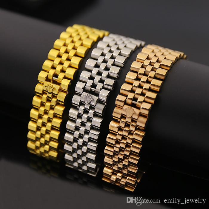 Fashion brand jewelry watch band crown symbol chain link Love bracelets bangles for men gifts,stainless steel bijoux gold /rose/silver color