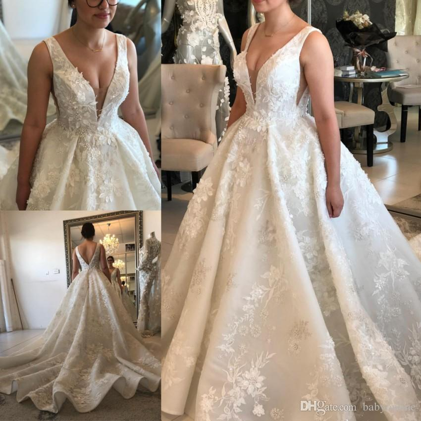 7c17f8da864 Modern White Ivory A Line Wedding Dresses Sexy Deep V Neck Backless Lace  Flowers Appliques Fitted Ruched Long Train Bridal Gowns Formal Backless  Wedding ...
