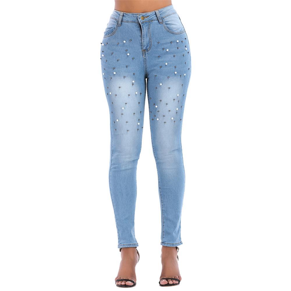 6b0fc7f8ad Jeans elasticizzati da donna sexy Jeans da donna Denim Pantaloni skinny a  vita bassa Pantaloni a matita slim Jeans vintage Perla