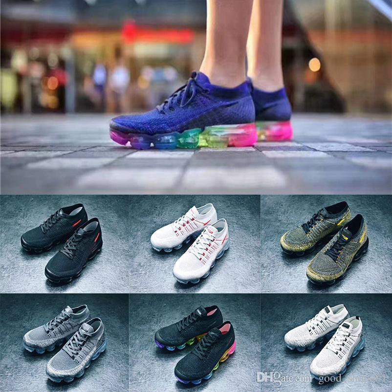 size 40 139b3 0d9a3 Acheter Vapor 2018 Chaussures De Course BE True Rainbow Hommes Fly KNIT  Blanc Noir Gris Shock Chaussures À Tricoter Femmes Formateurs Air Cushion  Marque ...
