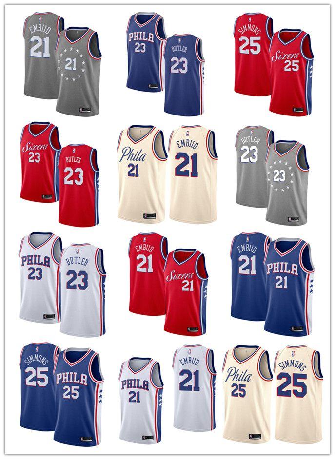 6b3b29177 2019 New Joel Embiid Jersey Men Philadelphia Ben Simmons 76ers Jimmy ...