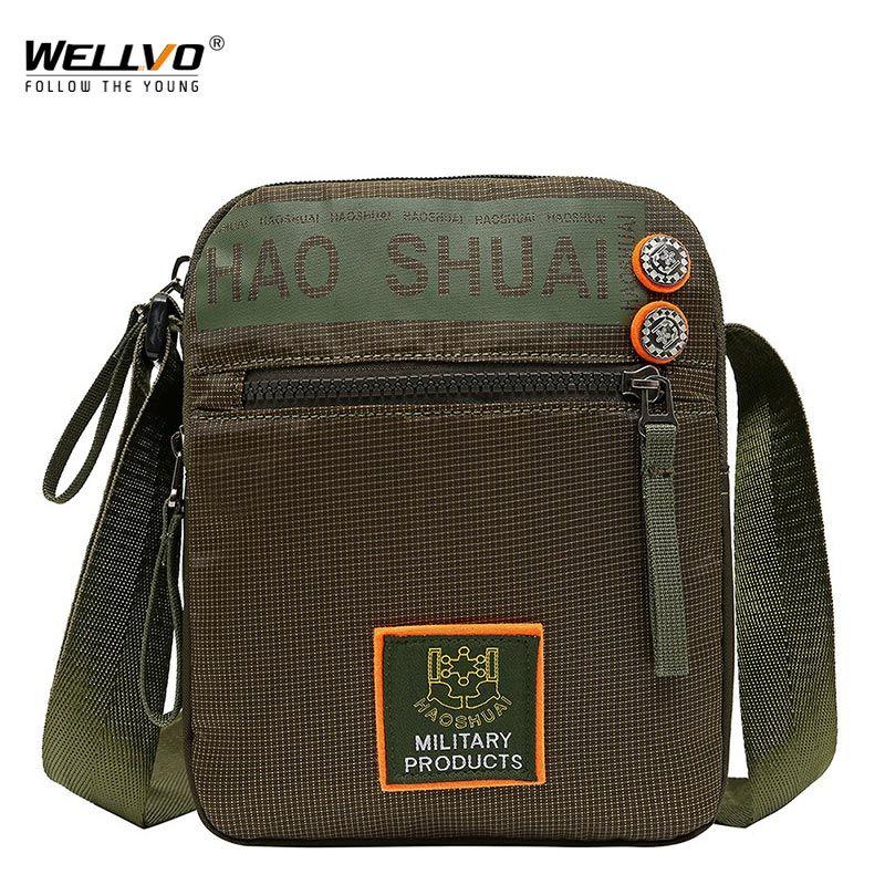7bc2246154df Waterproof Nylon Small Flap Messenger Bag For Men Black Casual ...