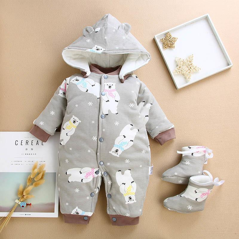 8f1d6543a 2019 BibiCola New Girls Baby Winter Romper Boys Long Sleeve Cartoon ...