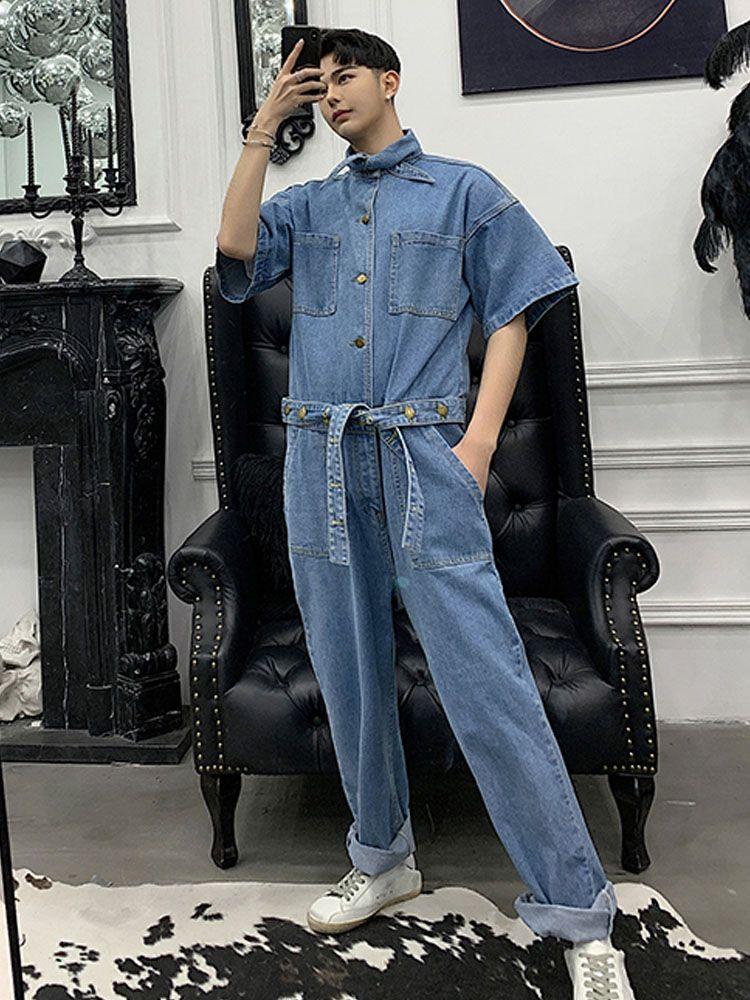 cb8d7b969bd6 2019 Male Short Sleeve Denim Harem Pant Overalls Jumpsuit Men Vintage  Fashion Streetwear Hip Hop Casual Jumpsuit Jeans From Hermanw