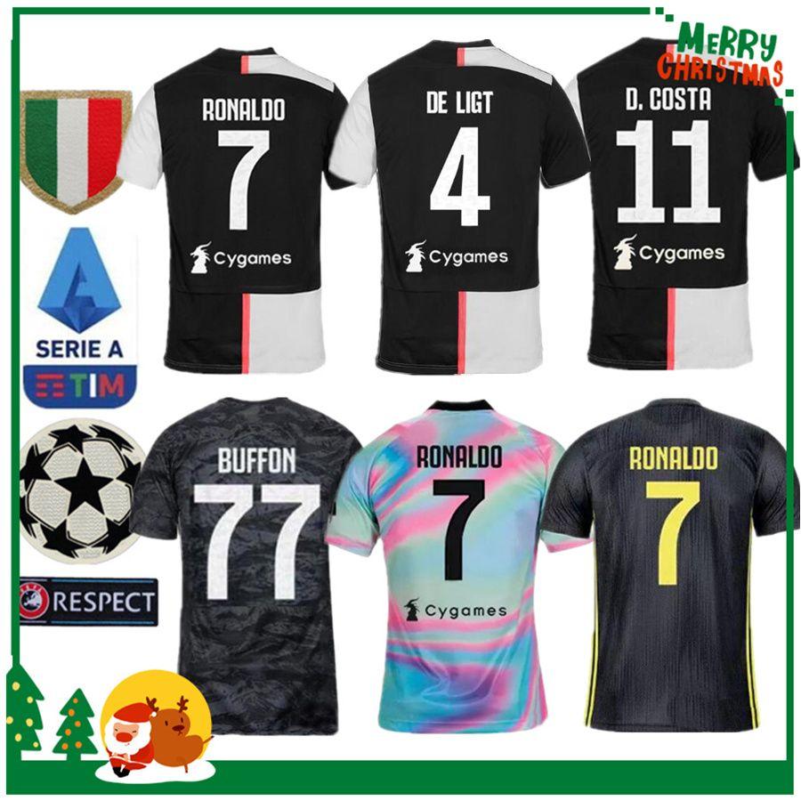 3a85a1734f Compre 19 20 Juventus Ronaldo DYBALA PJANIC DE LIGT Camisa De Futebol 2019  2020 Itália BUFFON Homem Mulher Menino Crianças Kit JUVE Esportes Camisa De  ...