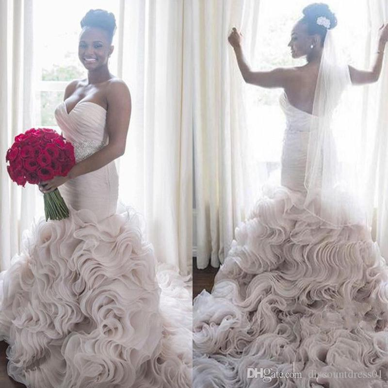 73506403c370 2019 Saudi Arabia Bridal Gowns Sweetheart Lace Appliques Crystal Beading  Sashes Tiered Mermaid Wedding Dresses Arabic Wedding Gown Bridal Gown  Bridal Shop ...