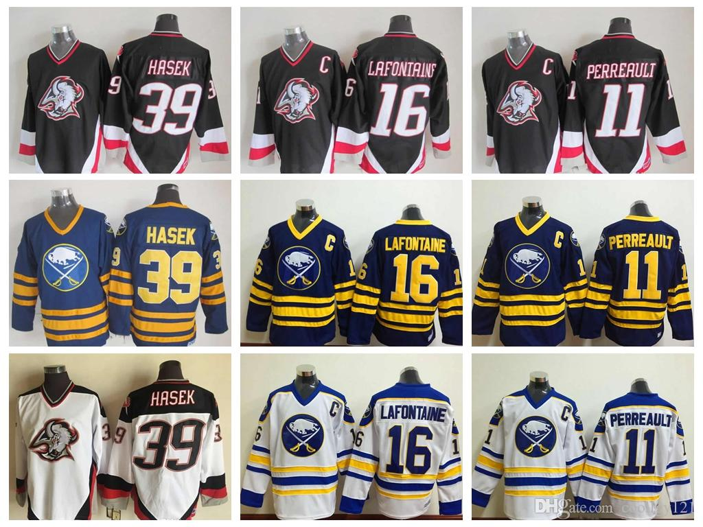 95335d15531 2019 Vintage Buffalo Sabres Hockey Jerseys 16 Pat LaFontaine Mens 11  Gilbert Perreault 39 Dominic Hasek 1992 CCM Top Quality Stitched C Patch  From ...
