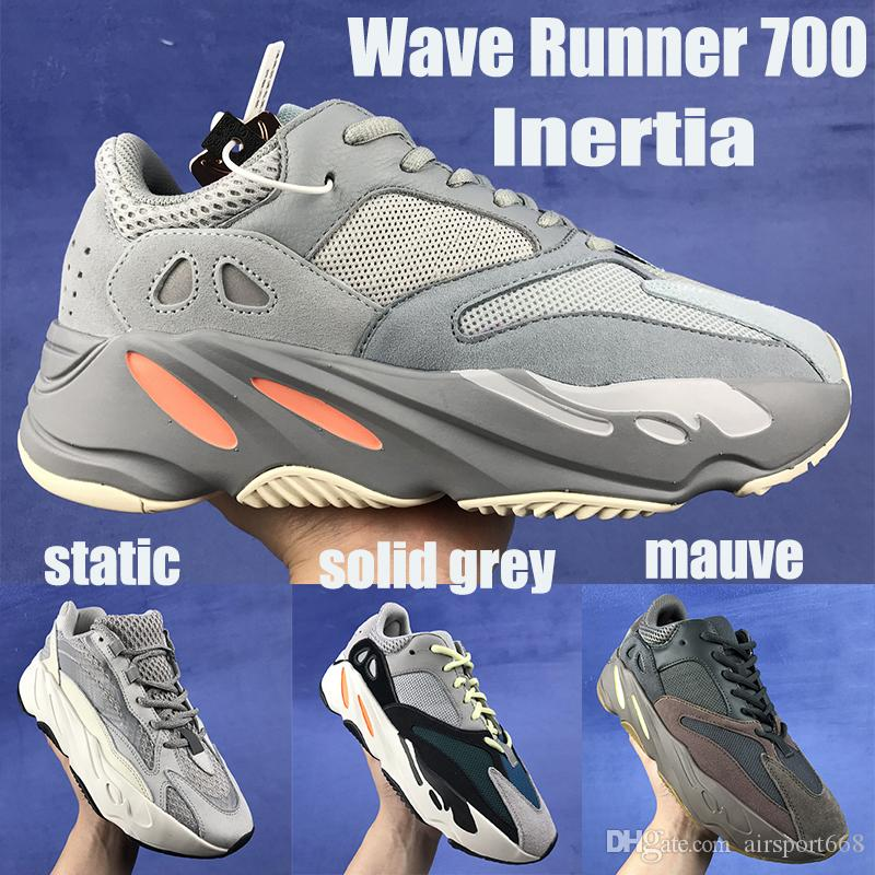 size 40 07169 07c9a 2019 Kanye West Inertia 700 Wave Runner designer shoes With box New Mauve  Static Solid Grey mens womens Running Shoes Sneakers US5-11.5