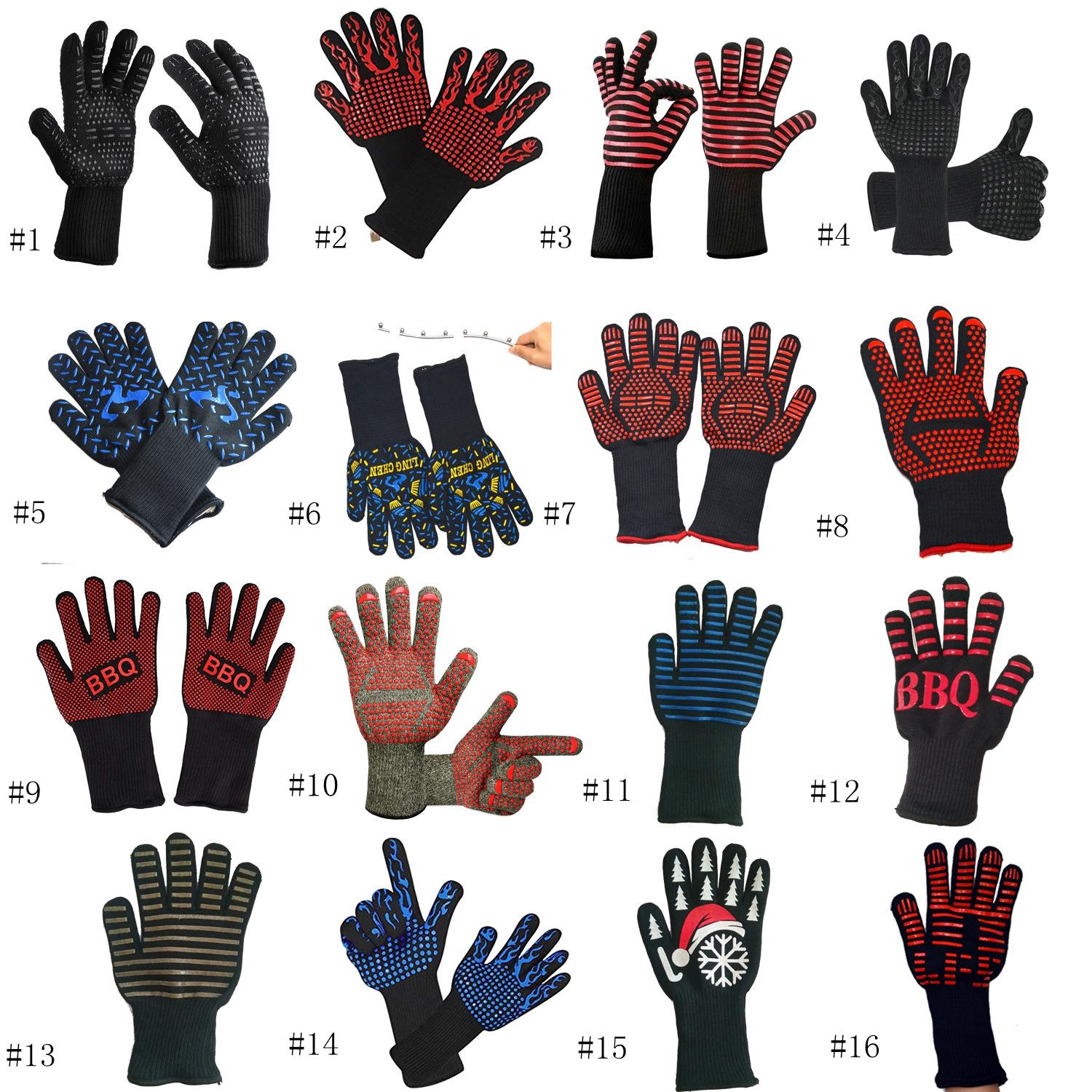 Heat Resistant Gloves Great For Oven BBQ Baking Cooking Mitts In Insulated Silicone BBQ Gloves Kitchen Pastry Tools EEA859-3