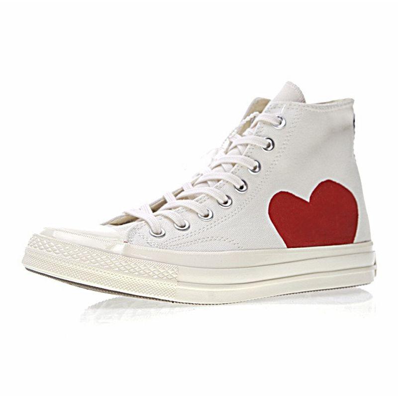 de2036291f0 Compre CDG X Converse Chuck Taylor All Star 1970s 2019 Diseñador Conver Big  Red Eyes Hearts Marca Zapatos Casuales All Stars Canvas Beige Negro Amante  Moda ...