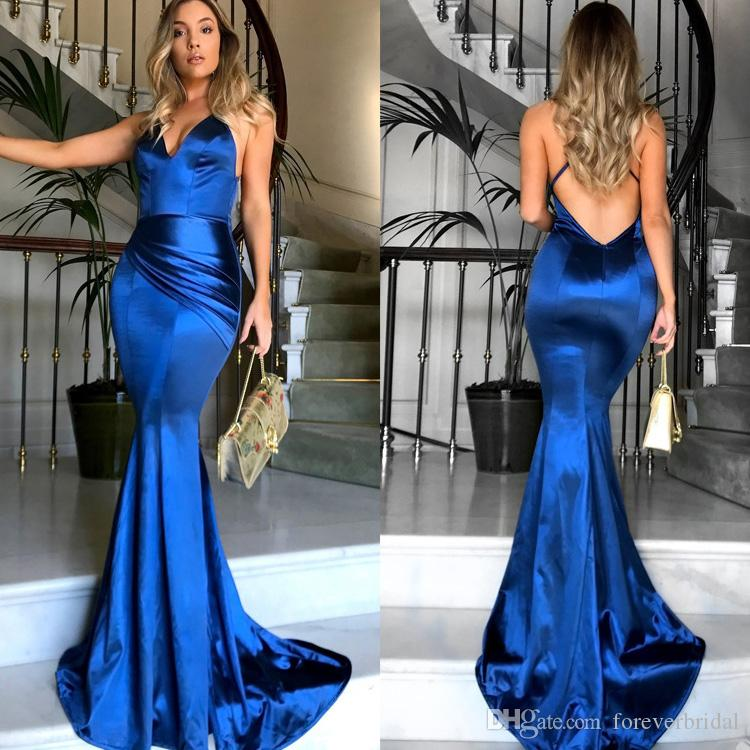 726de7034f5 2019 Designer Spaghetti Evening Dresses Sexy Mermaid Royal Blue Backless  Prom Gowns Formal In Stock Party Dress Cheap Black Evening Dresses Designer  ...