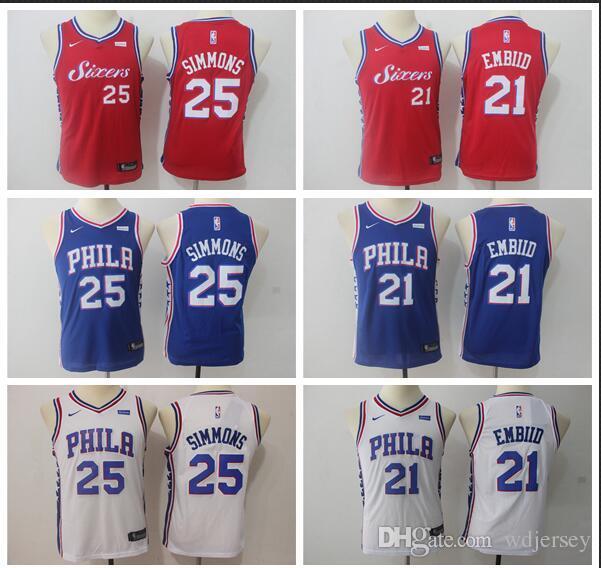 2d44ad9a2 Youth Philadelphia New Season 76ers Jersey Joel Embiid Ben Simmons ...