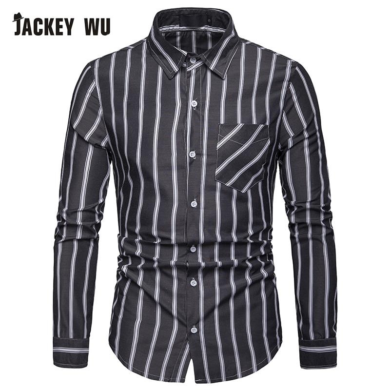 e9c2a87d6f61b JACKEYWU Casual Shirt Men 2019 Korean Fashion Striped Long Sleeved Shirt  Men's Slim Cotton Dress Social Business Camisa