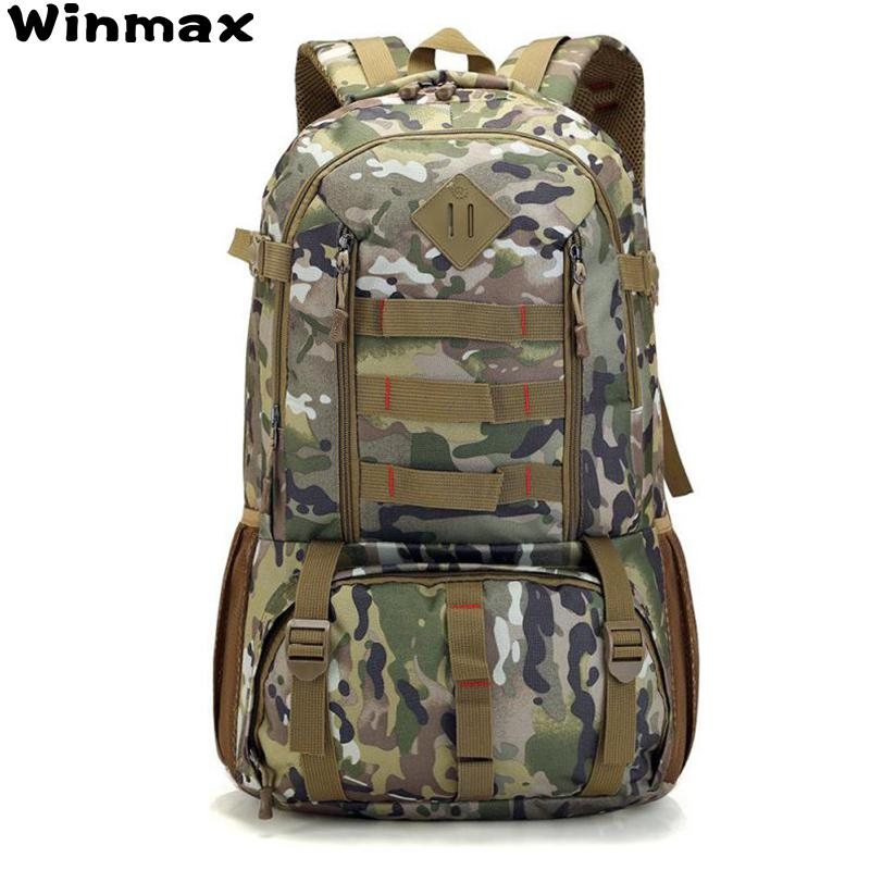 Camo Tactical Backpack Military Army Mochila 50L Waterproof Hiking Hunting  Backpacks Travel Tourist Rucksack Outdoor Sports Bag 0459c4a7372de