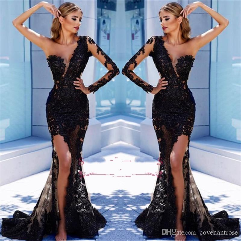Cheap One Sleeve Black Prom Dresses 2019 Mermaid See Through Lace Applique  Tulle Sexy Split Evening Dress Cheap Sexy Dresses Evening Dresses With  Sleeves ... ac1dfc49a90a