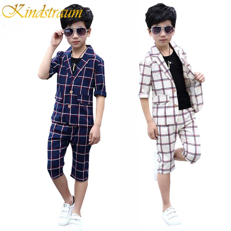 5eab8f70bb0b6 wholesale 3pcs Summer Kids Plaid Cotton Formal Suit for Boys England Style  Blazer+Vest+Pants Clothing Sets Wedding