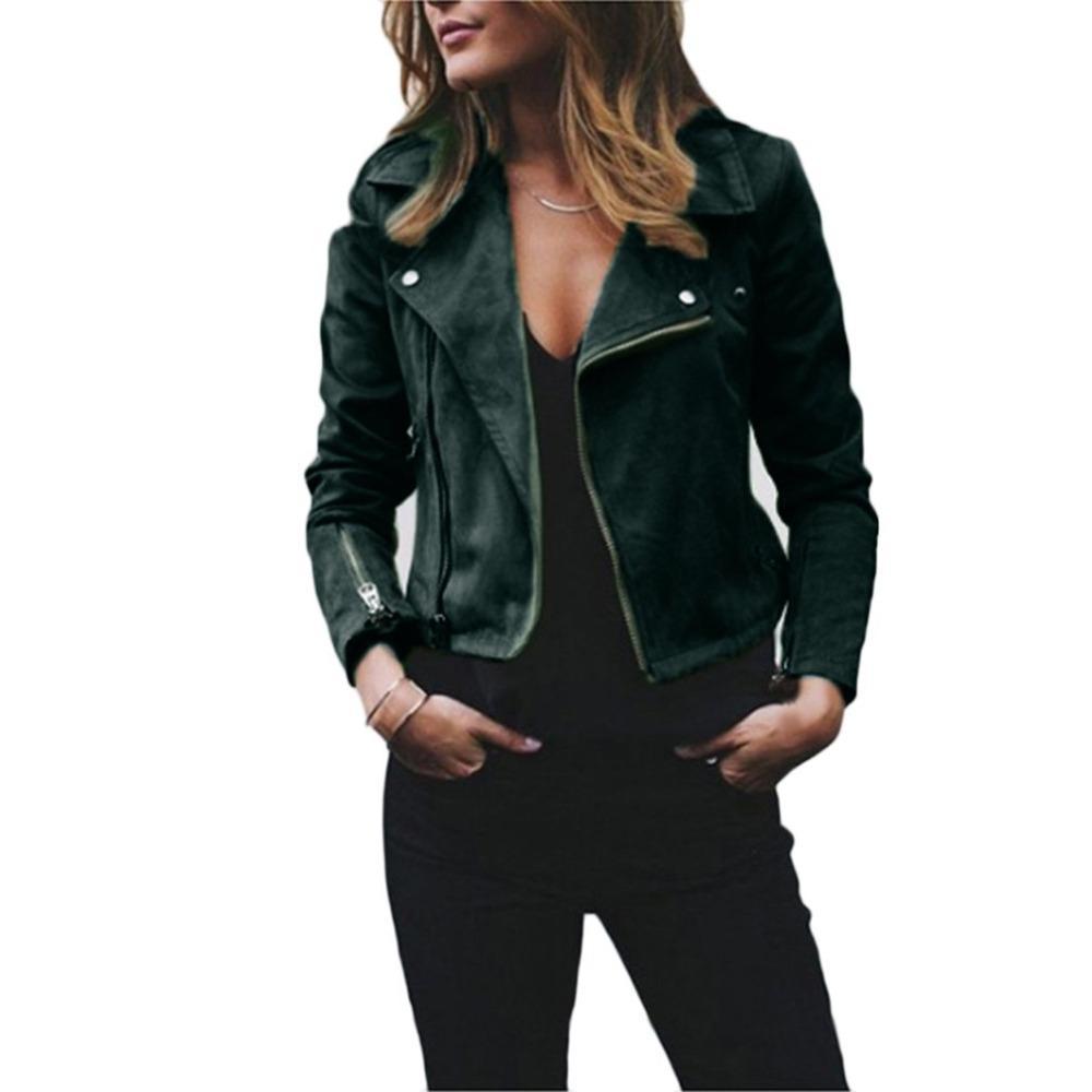 quality design 8e319 dd6e5 Giacca da donna di moda con cerniera Giacca da motociclista da motociclista  Giacca da donna bavero con zip diagonale Corta da donna in lana Top ...