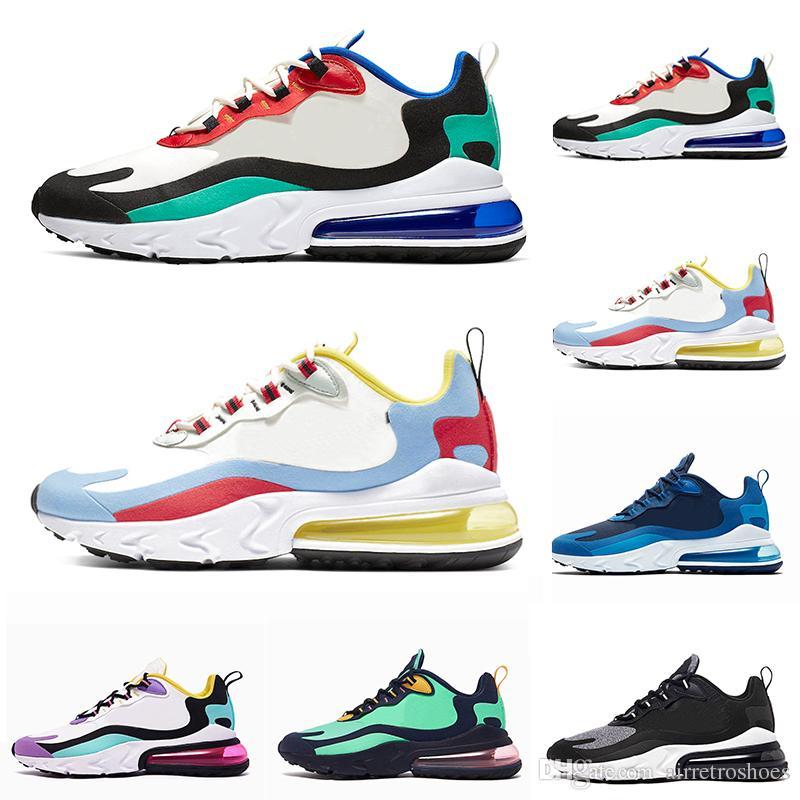 Nike Air Max 270 React BAUHAUS Brand reacciona los zapatos para correr Bright Violet OPTICAL Blue Void para hombre entrenador transpirable deportes al