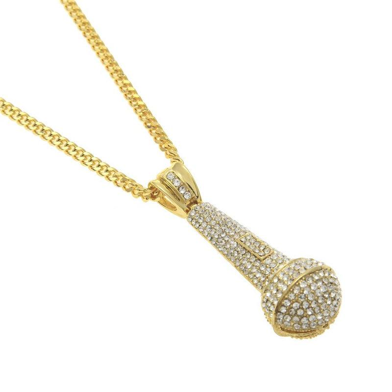 Fashion Microphone Pendant Necklaces Luxury Design Full Diamond Mic Necklace Gold Silver Mike Necklaces Best Singer KTV Gift