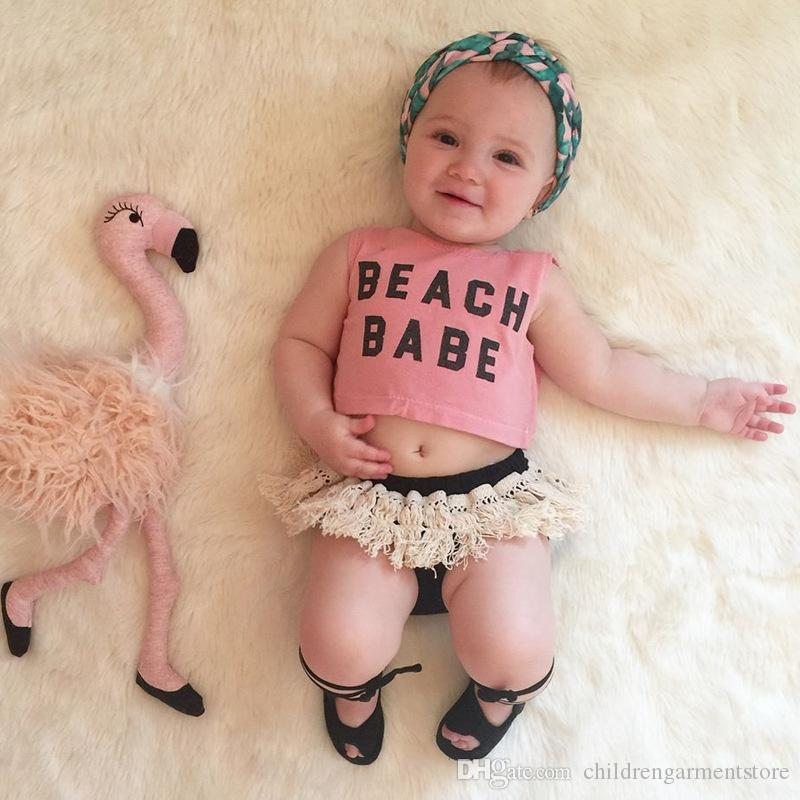 Cute Newborn Kids Baby Girl Beach Clothes Set Crop Top Tassels Shorts Outfits Clothes Summer
