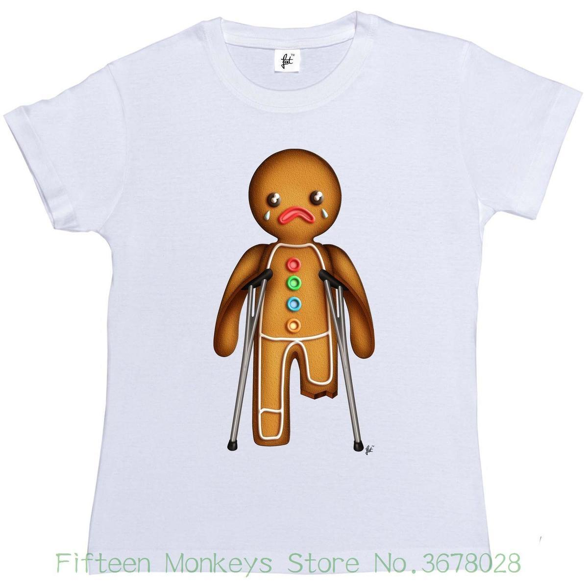 Women S Tee Xmas Gingerbread Man On Crutches Broken Leg Womens Ladies T Shirt Printed Female