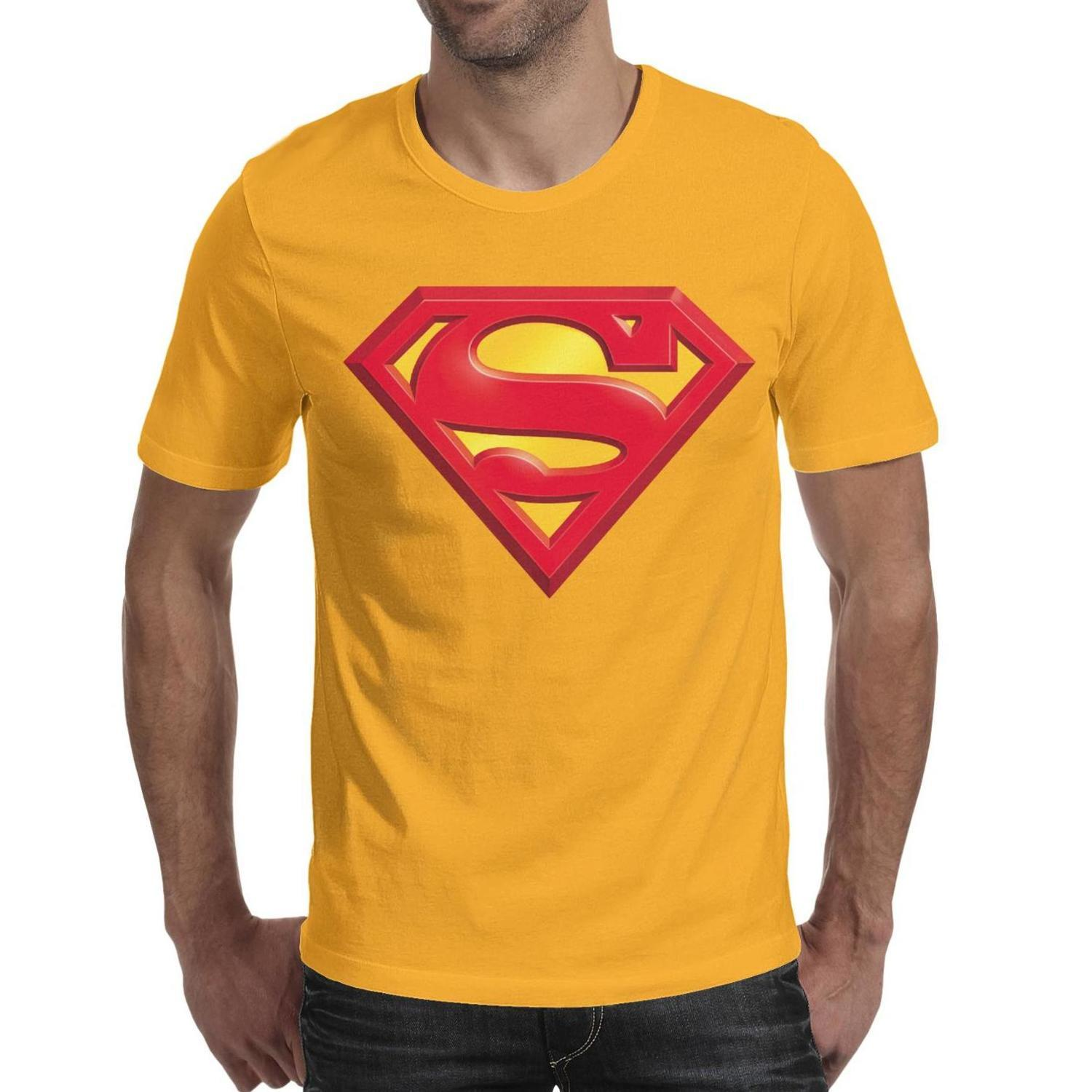 Superman logo yellow and red yellow men's short sleeve t shirt wholesale t shirt 100%cotton sport friends men's Tops Pullover