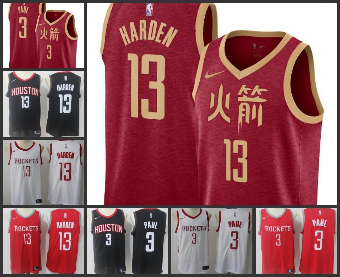 check out 8c903 f40ac 18-19 Season Houston Men Rockets Jersey James Harden Chris Paul Xiangyun  City Red Edition Embroidery Jerseys