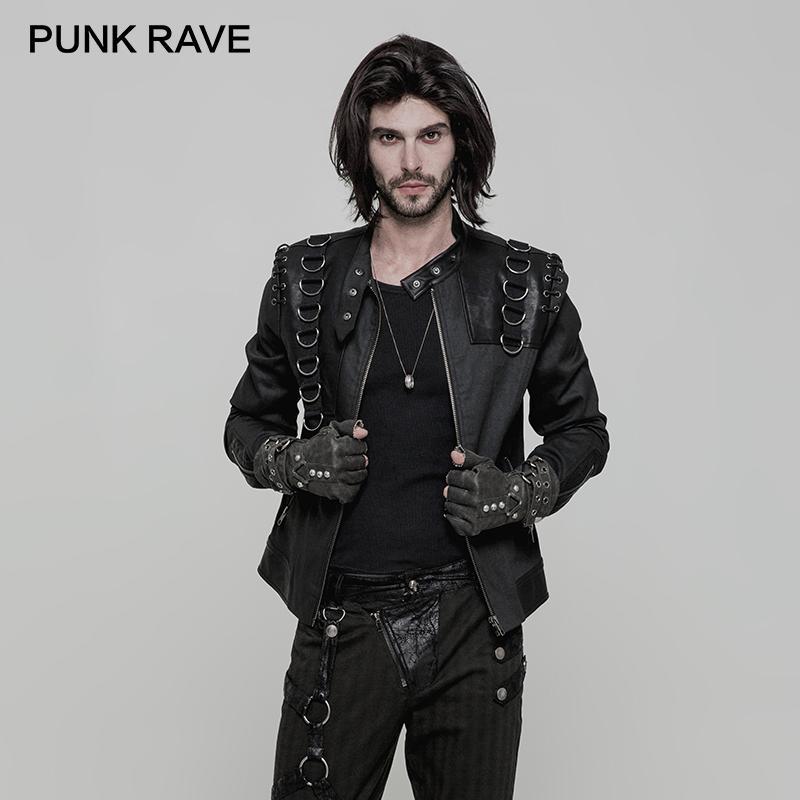 4ac2f877628 Compre PUNK RAVE Hombres Chaqueta De Cuello Alto De Punk Rock Abrigo Estilo  Gótico De Cuero Con Cremallera De Metal Abrigos De Motos Chaqueta Corta A  ...