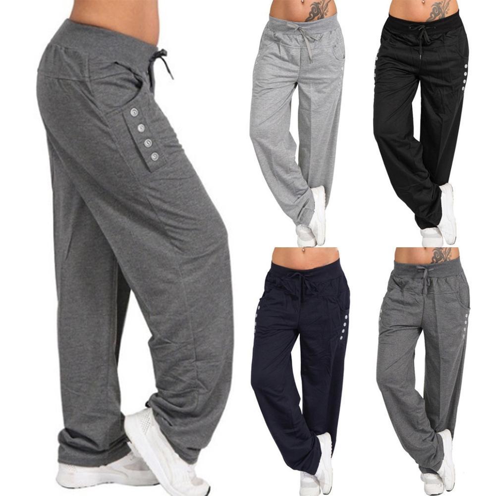 c579d38feca5 Compre Pantalones Deportivos Holgados Flojos Ocasionales De Las Mujeres  Pantalones De Chándal Pierna Ancha Cintura Alta Con Cordones Pantalones De  Chándal ...