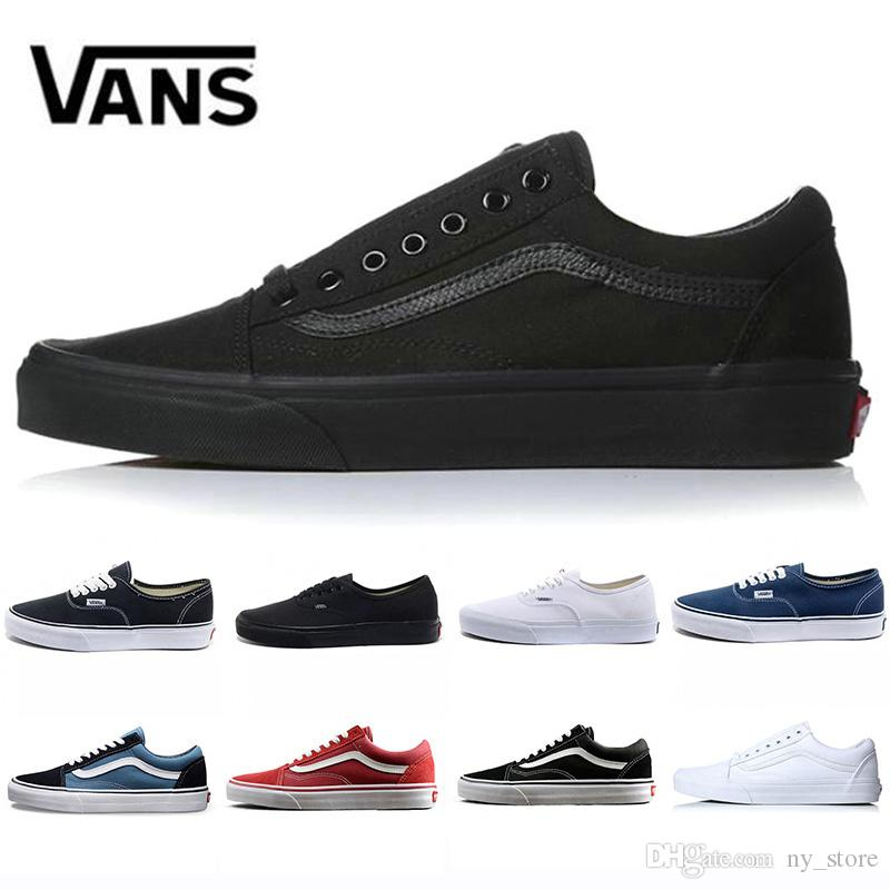 Moda Original Vans Old Skool Hombres Mujeres Zapatos casuales Zapatillas de deporte negro blanco rojo Zapatillas Yacht Club Sports Canvas Old Skool