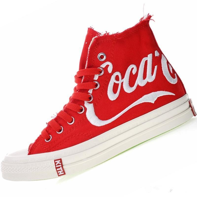 2019 New hococal Three Party Consortium KITH Coca 1970s Cola High Canvas Classic 1970s Cola Crystal Sole Casual Shoes Size 35-44