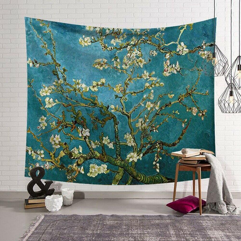 Van Gogh almond blossoms Tapestry Wall Hanging Polyester Bedspread Throw GW