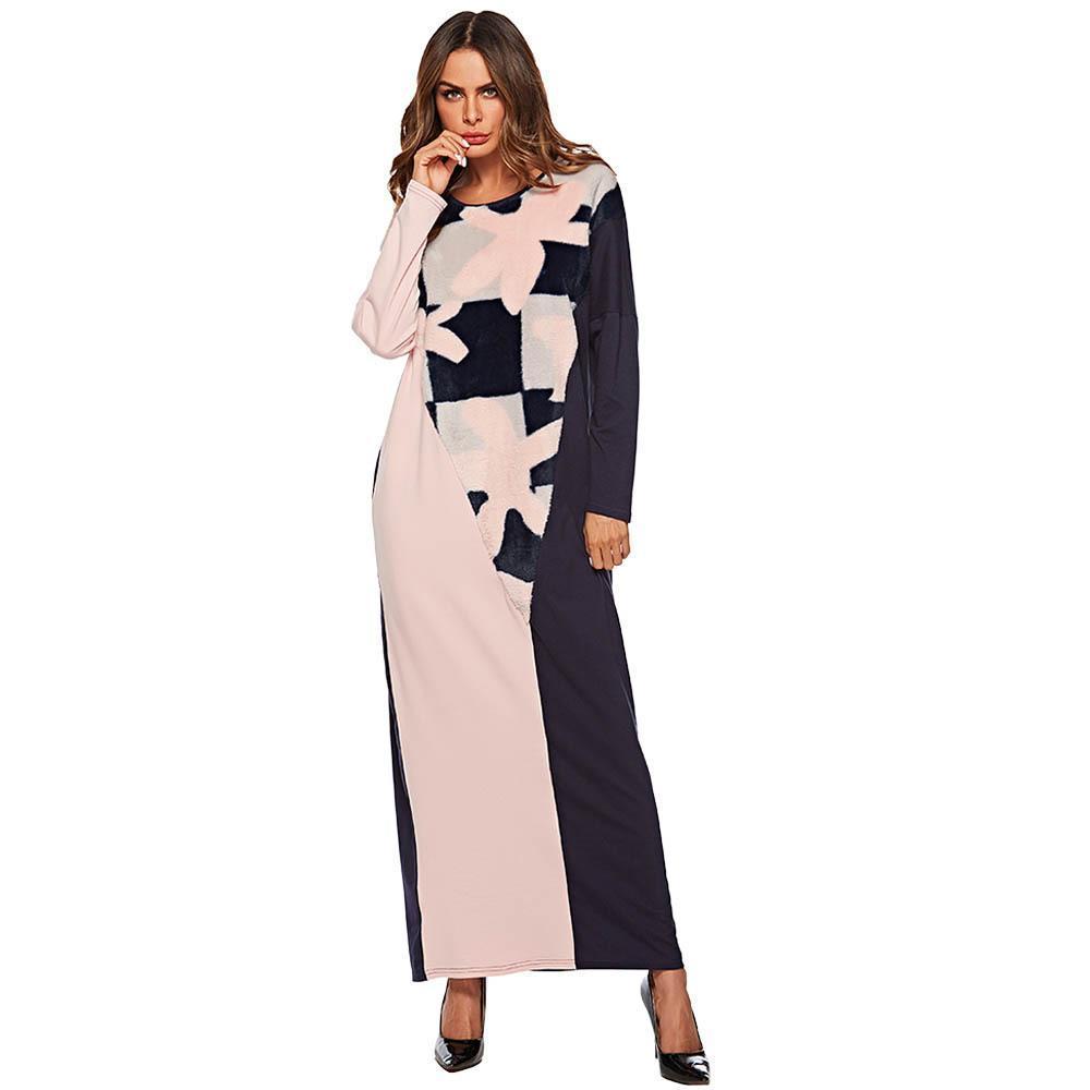 2019 JS7476 Muslim Women Maxi Dress Embroidery Ball Cotton Abaya ...