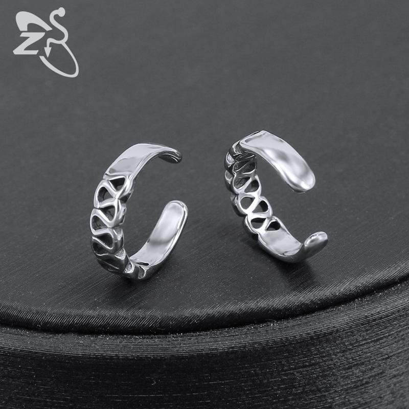 ZS Pendientes de Clip de Cartílago de Hip Hop de las mujeres Cráneo Forma de Estrella Ear Cuff Joyería de Acero Inoxidable de los hombres Jewellry Sin Pendiente Pendiente
