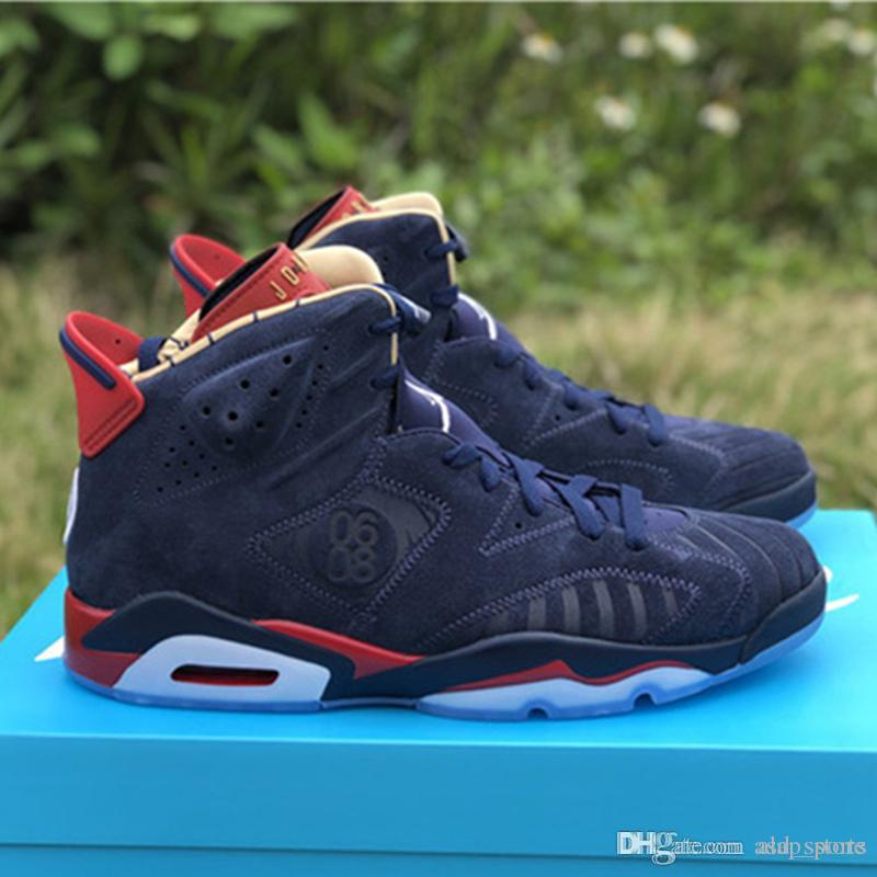 the latest 4a64e 82d5a 2019 New Release 6 Doernbecher 6S DB Midnight Navy Varsity Red Metallic  Black Mens Basketball Shoes Sports Sneakers Authentic With Box