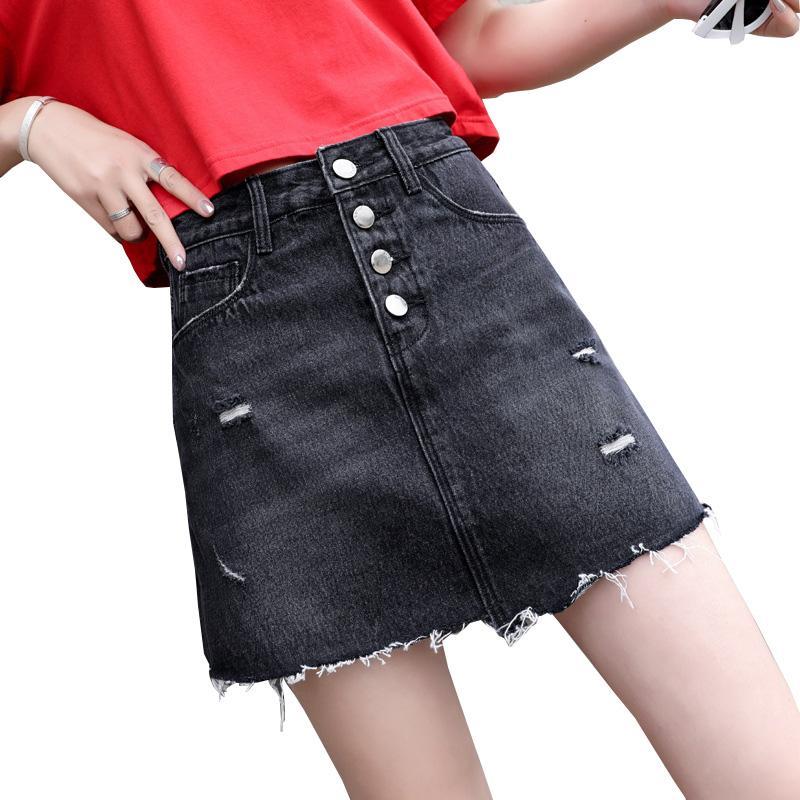 1f4761ff3717ce 2019 Plus La Taille Femmes Shorts Jupes 6XL Taille Haute Femmes Sexy Denim  Jupe 5XL D'été Mnini Shorts Noir Saias Faldas Jupe