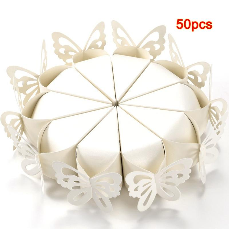 50 Pcs Butterfly Favor Gift Candy Boxes Cake Style for Wedding Party Baby Shower white