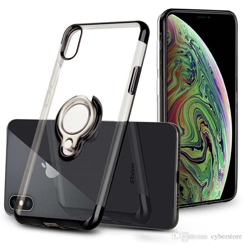 71ee4c56198 Carcasas Para Celulares Para IPhone X XS Max 8 7 Funda Transparente De TPU  Transparente Silicona Flexible Cubierta De Soporte Del Anillo Soporte Para  Huawei ...