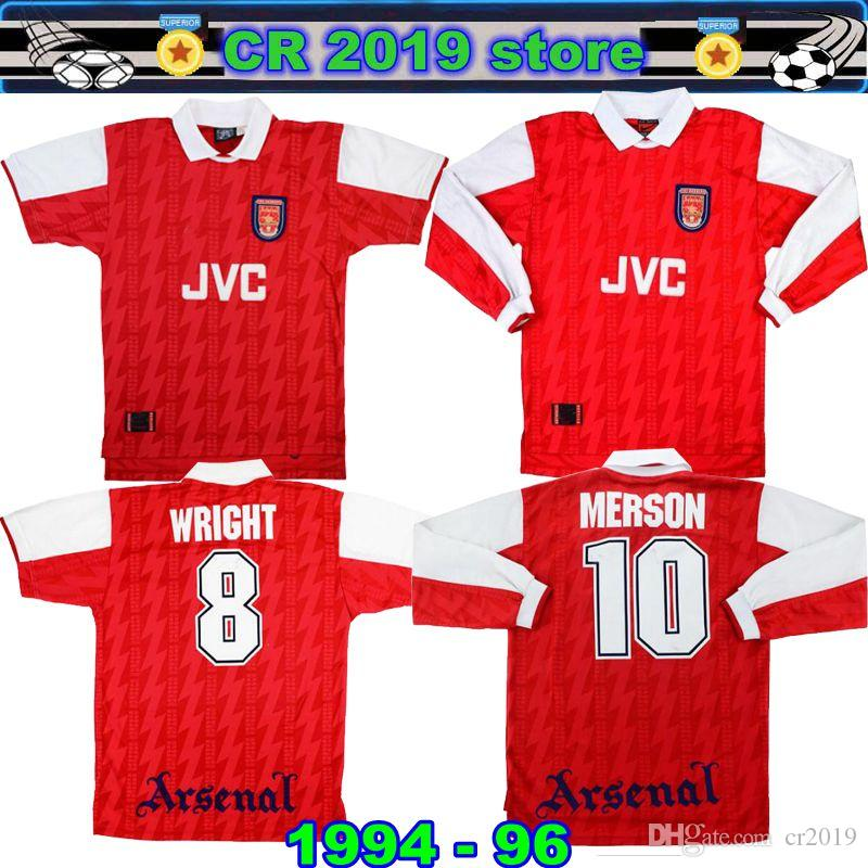 bd8f9e735 2019 1994 96 Arsenalal Home Shirt Merson  10 Jersey 1994 95 Arsenalal Home  Shirt Wright  8 Very Good Jersey 1994 95 Bergkamp Home Football Jersey From  ...