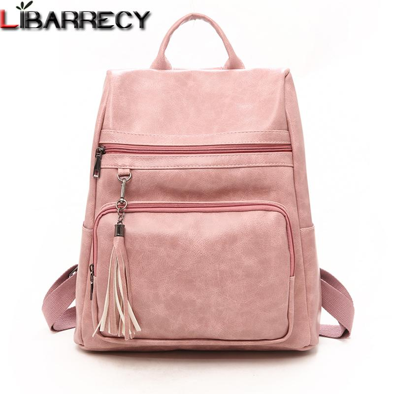 735c5f46eb 2019 FashionFashion Backpack Female Famous Brand Leather Women Backpack  Simple Bookbag Large Capacity Travel Bag Leisure Shoulder Bags 2018 Water  Backpack ...