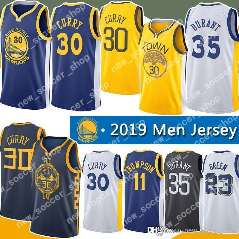 77ea639dc2e 2019 Stephen 30 Curry Golden Mens State Kevin 35 Durant Jersey Warriors  Draymond 23 Green Klay 11 Thompson Andre 9 Lguodala Jerseys From  New soccer shop