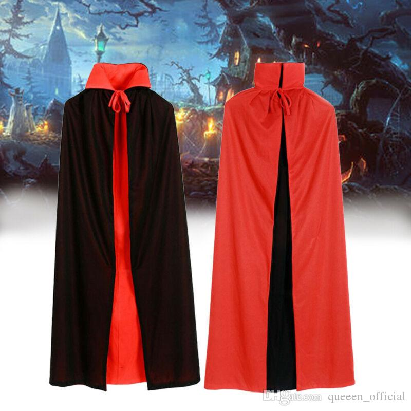Vampire Halloween Costume Party Capes Unisexe Adulte Hommes Femmes Cape à capuche long manteau noir ponchos stand manteau col