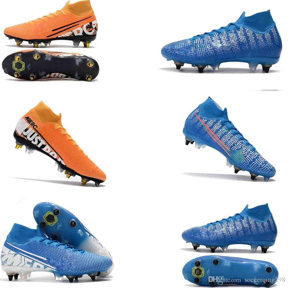 Mens Mercurial Superfly VI 360 Elite Ronaldo FG CR soccer shoes original 7 Elite SG-PRO AC39-45 football boots high ankle Soccer Cleats