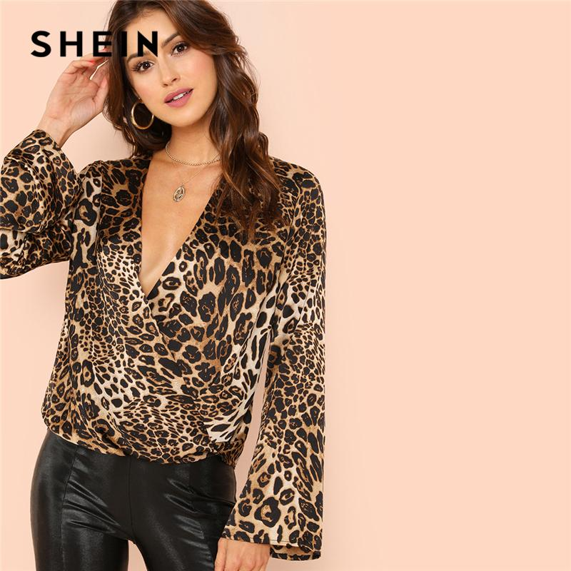 edf88d1862 2019 Shein Flounce Sleeve Surplice Wrap Top Multicolor Leopard Deep ...