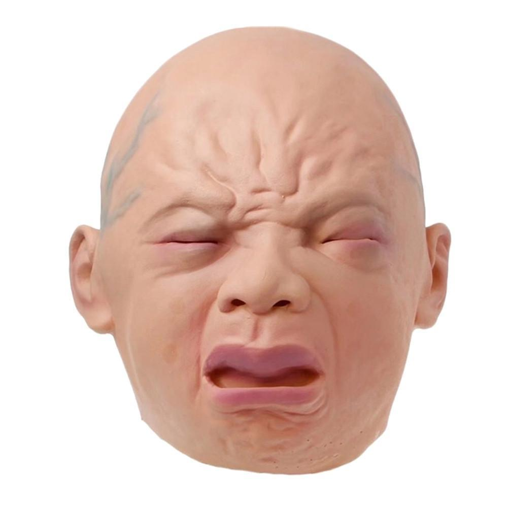 Realistic Crying Baby Mask Full Head Crying Face Mask Wigs Halloween Bar Room Haunted House Horror Mask Cosplay Bar Performances