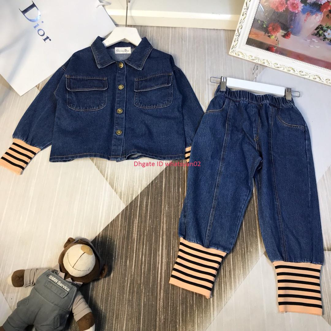 Boy jacket sets autumn kids designer clothing denim jacket + jeans 2pcs washed denim sets black and blue best