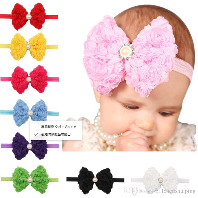 Niños calientes Arcos Princesa Headwear Girls Cute Chiffon Rose Flower Headbands Accesorios para el cabello del bebé Moda Perla Bowknot Headbands