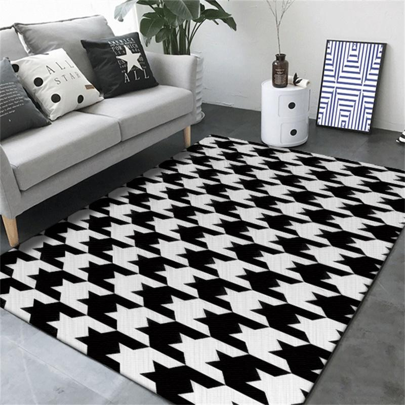 Fashion Modern Classic Simple Black White Geometric Houndstooth Door Mat  Living Room Bedroom Parlor Area Rug Decorative Carpet Discount Oriental Rugs  Buy ...